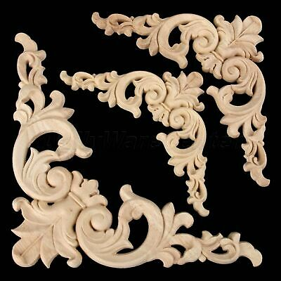 European Style Wood Carved Floral Corner Walls Onlay Doors Applique Unpainted