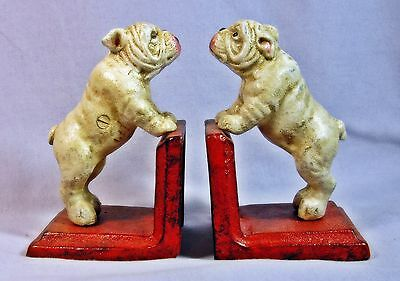 PAIR OF ENGLISH BULLDOG HEAVY CAST IRON BOOKENDS Book Ends  ~ Vintage Style