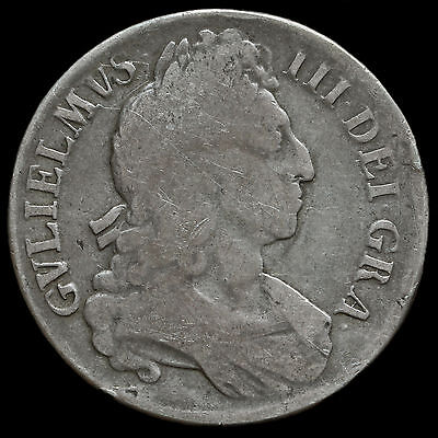 1696 William III Early Milled Silver Octavo Crown, Third Bust, AF