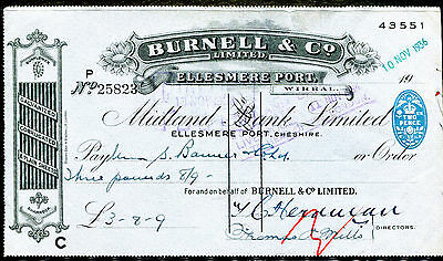 1936 Cheshire England - Burnell & Co. Check
