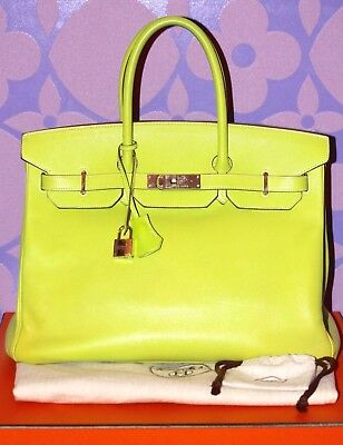 19a4de6d0169 HERMES BIRKIN Bag 35 RARE KIWI  CANDY COLLECTION  SO Palladium HW Epsom  Leather!
