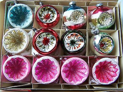 VINTAGE MERCURY GLASS ROUND INDENT CHRISTMAS GLASS ORNAMENTS Mica