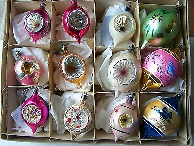 Vintage Mercury Glass Teardrop Indent Christmas Glass Ornaments