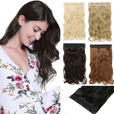 AU One Piece Long Thick Hair Extensions Clip in Human Natural Fake Hairpiece BV8