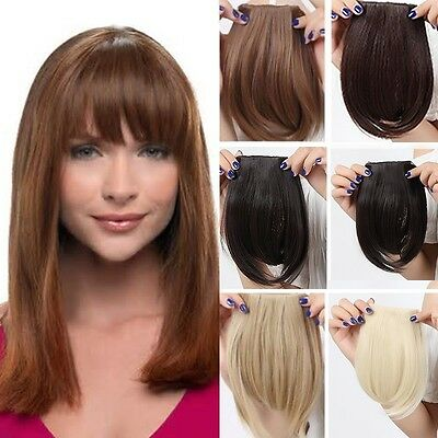 AU Clip on Front Bangs Fringe Clip in Hair Extensions Black Brown For Party HZ1