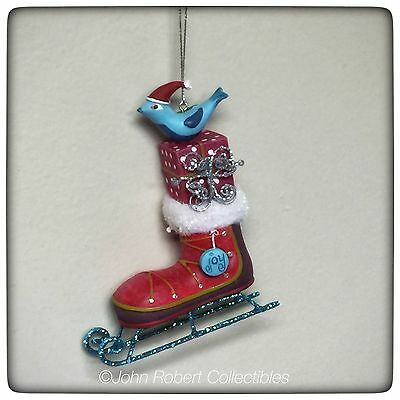 Dept 56 Christmas Bird On A Skate Ornament Whimsily Collection