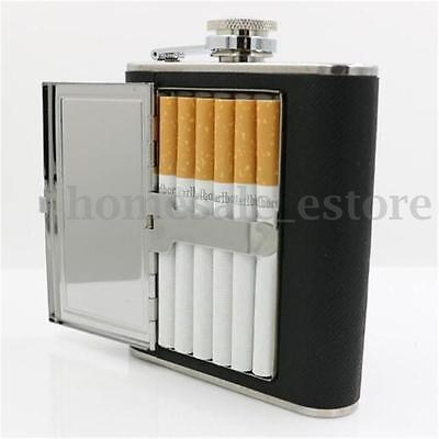 Portable Liquor Wine Stainless Steel Alcohol Flagon Hip Flask + Cigarette Case
