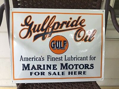 GULF Gulfpride Oil~America's Finest Lubricant for Marine Motors~PORCELAIN SIGN