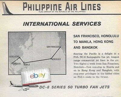 Philippine Airlines Douglas Dc-8 Series 50 Turbo Fanjets 1962 Ad An Schedule