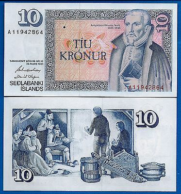 Iceland P-48 10 Kronur Year 1961 Uncirculated FREE SHIPPING