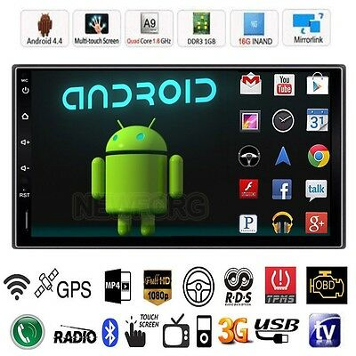 "Android 4.4 3G WIFI 7"" Double 2DIN Car Radio Stereo mp5 Player GPS Nav Bluetooth"