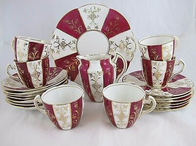 Vtg Red White Stripe Gold Trim Tea Cups Saucers Plates Hand Painted 21 Pieces