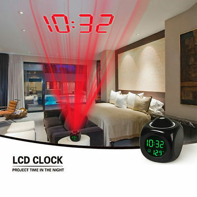 Multi-function Digital LCD Voice Talking LED Projection Alarm Clock Temperature