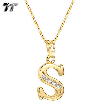 TT 18K Gold GP Letter S Pendant Necklace With Box Chain (NP327S) NEW