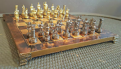 Manopoulos chess set - Greek - Brass, nickle - Fine set, no box (58mm King)