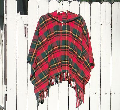 Vintage 70's Retro Red Plaid Wool Blanket Poncho Jacket with Hood 1sz