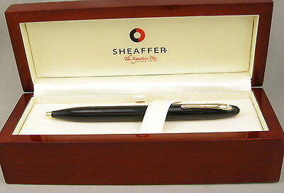 Sheaffer Crest Black & Gold Ballpoint Pen In Wood Box - Unused NOS - Made In USA
