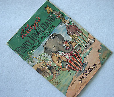 ANTIQUE KELLOGG'S CEREAL FUNNY JUNGLELAND MOVING PICTURES FLIP BOOK dated 1909