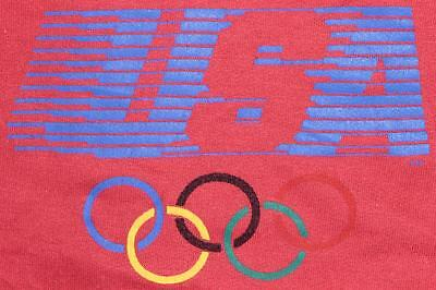 80s Vintage Levis USA Olympics LA Red Sleeveless Muscle Kids Sweatshirt