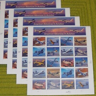 Five x 20 = 100  AMERICAN ADVANCES in AVIATION 37¢ US Postage Stamps # 3916-3925