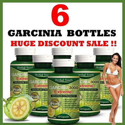 6 x BOTTLES 3000mg Daily GARCINIA CAMBOGIA Capsules Fat Burner Weight Loss Diet