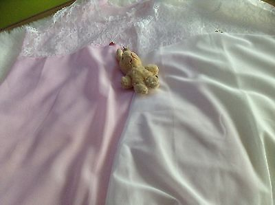 Vintage Baby Girls infant childrens petticoat unused  two white/pink 70s age 2/3