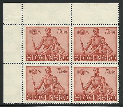 Slovakia WWII 1942 Soldier & Hlinka Youth 70h+1Ks Block Plate Fault Pos 2 VF MNH
