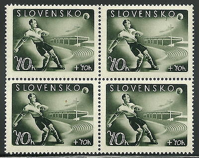 Slovakia WWII 1944 Soccer Player 70h+70h Block with Plate Fault Pos. 62 VF MNH!