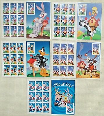 Mint 50 (5 Booklets x 10) LOONEY TUNES Bugs Bunny Complete set US Postage Stamps