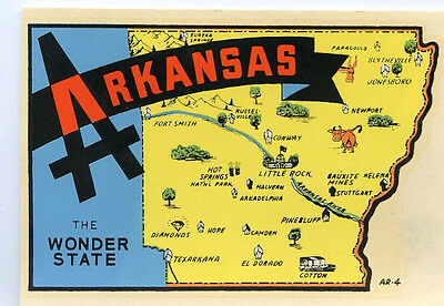 Vintage Arkansas Wonder State Map Souvenir Travel Decal Original Lindgren-Turner