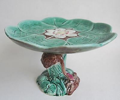 "Antique MAJOLICA Water POND LILY HERON Crane 10"" COMPOTE STAND Bird Footed Plate"