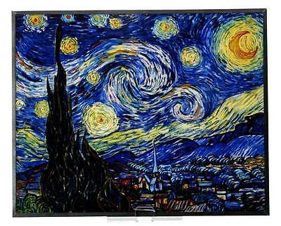 """VAN GOGH """"STARRY NIGHT"""" Stained Art Glass Window Panel Hanging Display"""