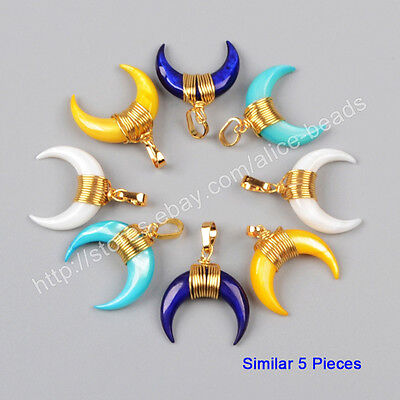 5Pcs HOT Gold Plated Wire Wrap Horn Crescent Moon Rainbow Shell Pendant TG1123
