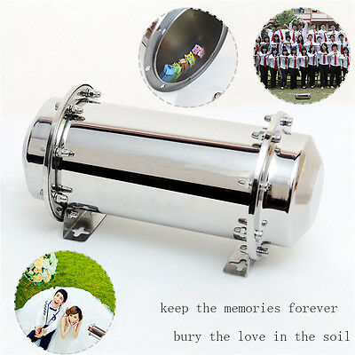 """6.68"""" Stainless Steel Waterproof Time Capsule Lock Container Storage Future Gift"""