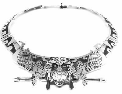 Vintage Style Taxco Mexican 950 Sterling Silver Native Tribal Necklace Mexico