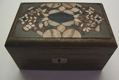 Antique rosewood trinket box with hard stone inlaid pietra dura top