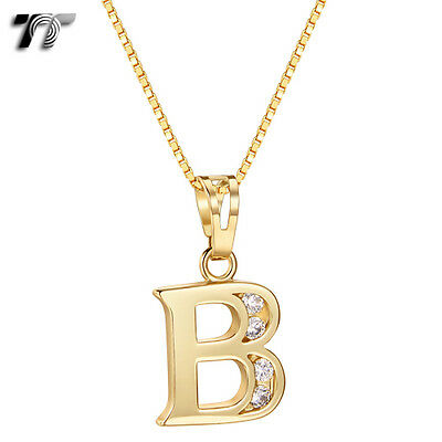TT 18K Gold GP Letter B Pendant Necklace With Box Chain (NP331B) NEW
