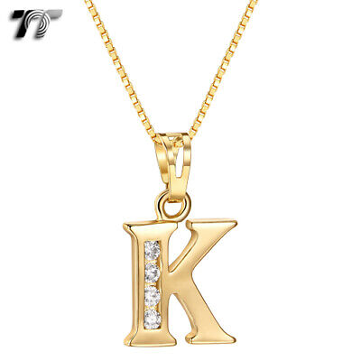 TT 18K Gold GP Letter K Pendant Necklace With Box Chain (NP327K) NEW