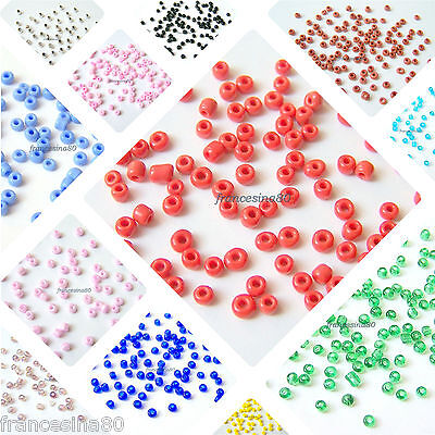400 perline rocailles vetro 8/0 3mm 12 grammi conteria seed beads