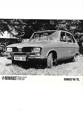 RENAULT 16 TL PRESS PHOTO ' Brochure Connected'