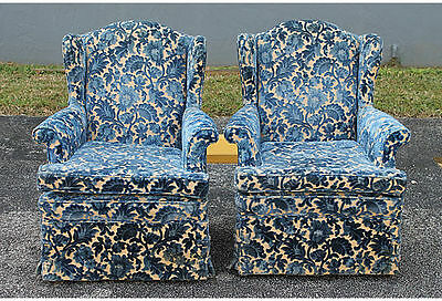 Pair Cut Crushed Velvet Wingback Chairs