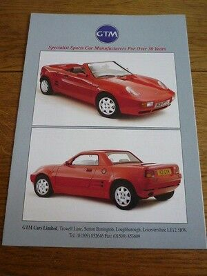GTM SPECIALIST SPORTS CAR,  KIT GTM ROSSA K3 SALES BROCHURE LATE 90's?