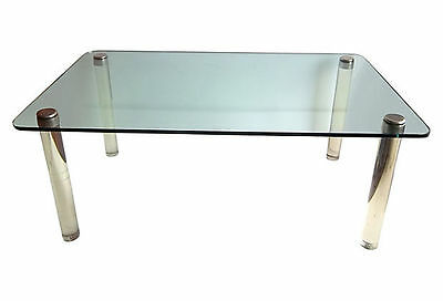 MID CENTURY MODERN HEAVY LUCITE AND GLASS DINING TABLE, circa 1960's
