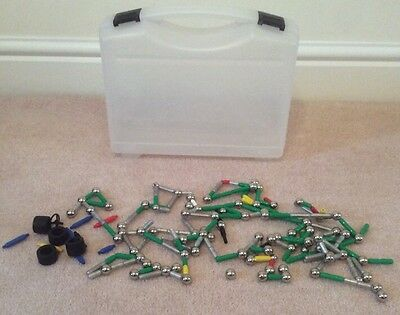 Supermag construction set, over 275 pieces with plastic carry case magnetic VGC