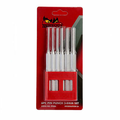 Teng Tools 6 Piece Octagonal Parallel 150mm Air Hardened Tempered Pin Punch Set