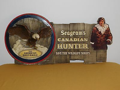"Vintage Bar 26"" X 13"" Seagram's Canadian Hunter American Bald Eagle Ad Sign"