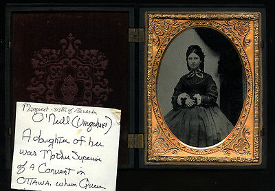 """Ambrotype Photo ID'd Lady in Excellent Thermoplastic / Union """"PIANO"""" Music Case"""