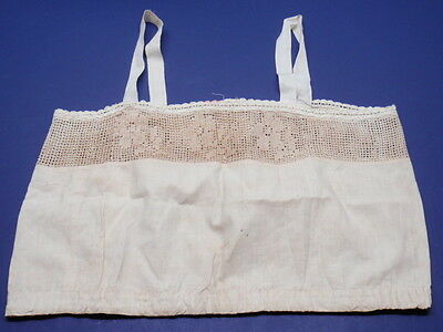 Vintage 1920-30s Camisole Off White Under Garment Lingerie Drawstring Lace 38