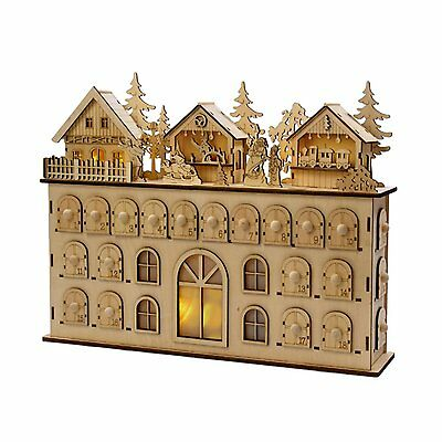 "16.5"" Alpine Chic LED Wooden Advent Calendar Christmas Table Top Decoration"