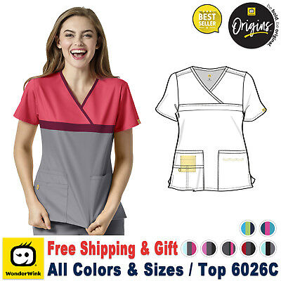 WonderWink Origins [XS-3X Plus] Women Y-Neck Mock Wrap Medical Uniform Scrub Top